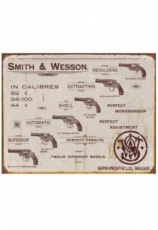 PLACA METÁLICA DECORATIVA SMITH & WESSON